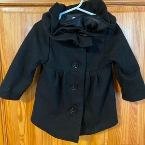 Old Navy Toddler Girls' Black Pea Coat with Ruffle
